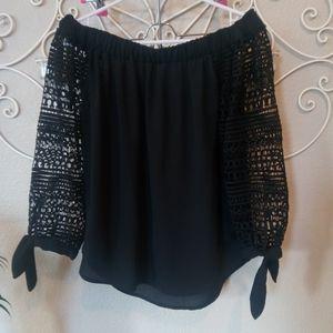 Express Off Shoulder Black Lace Top